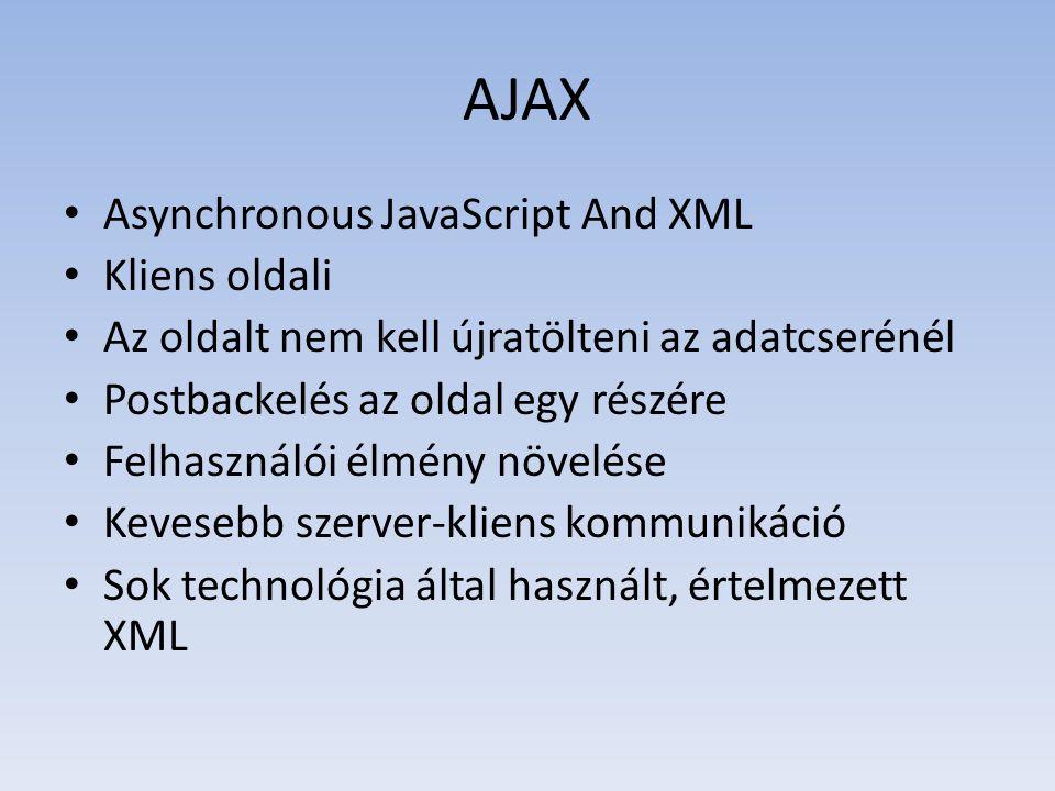 AJAX • Asynchronous JavaScript And XML • Kliens oldali • Az oldalt nem kell újratölteni az adatcserénél • Postbackelés az oldal egy részére • Felhaszn