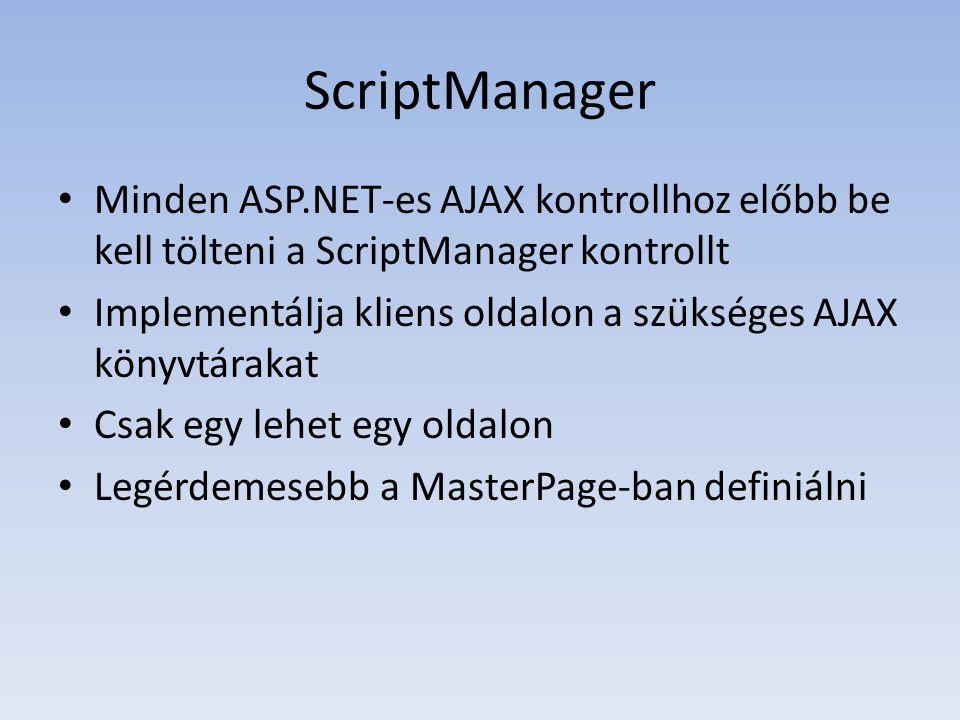ScriptManager • Minden ASP.NET-es AJAX kontrollhoz előbb be kell tölteni a ScriptManager kontrollt • Implementálja kliens oldalon a szükséges AJAX kön