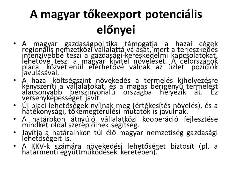 A magyar tőkeexport potenciális előnyei • A magyar gazdaságpolitika támogatja a hazai cégek regionális nemzetközi vállalattá válását, mert a terjeszke