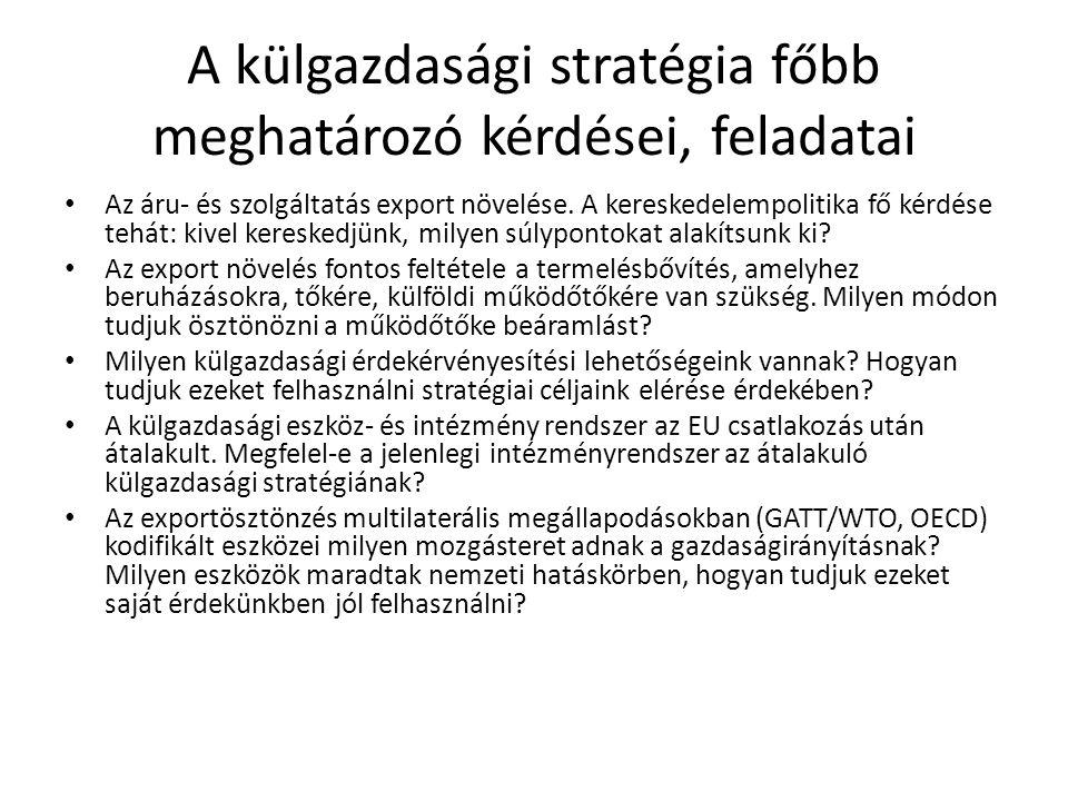 A külgazdasági stratégia főbb meghatározó kérdései, feladatai • Az áru- és szolgáltatás export növelése. A kereskedelempolitika fő kérdése tehát: kive