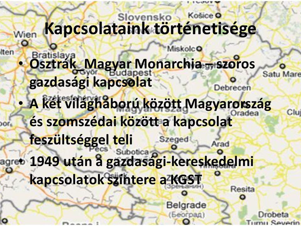 Kapcsolataink történetisége • Osztrák_Magyar Monarchia – szoros gazdasági kapcsolat • A két világháború között Magyarország és szomszédai között a kap
