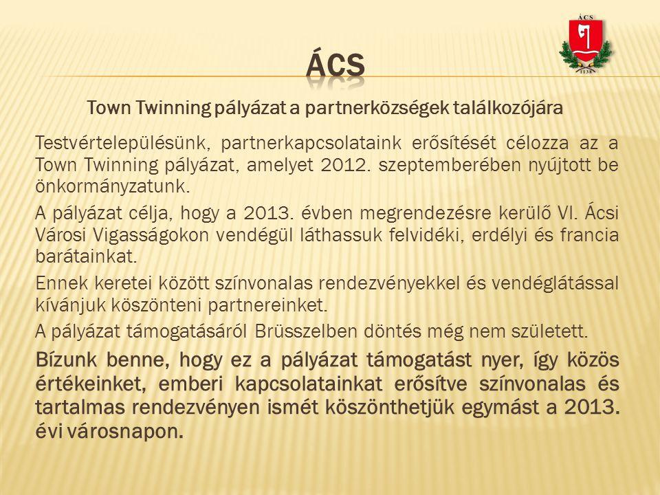 Testvértelepülésünk, partnerkapcsolataink erősítését célozza az a Town Twinning pályázat, amelyet 2012. szeptemberében nyújtott be önkormányzatunk. A