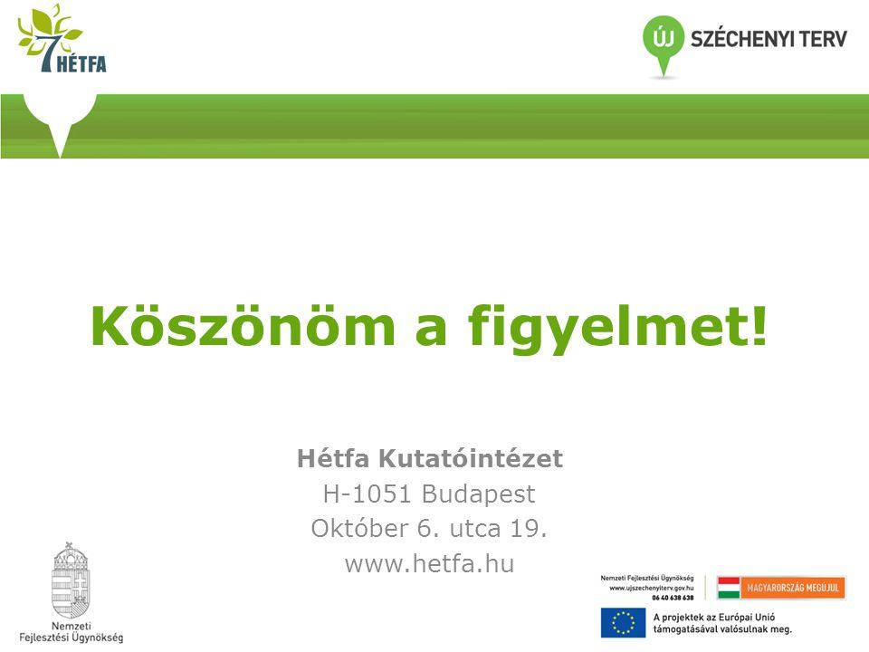 Köszönöm a figyelmet! Hétfa Kutatóintézet H-1051 Budapest Október 6. utca 19. www.hetfa.hu
