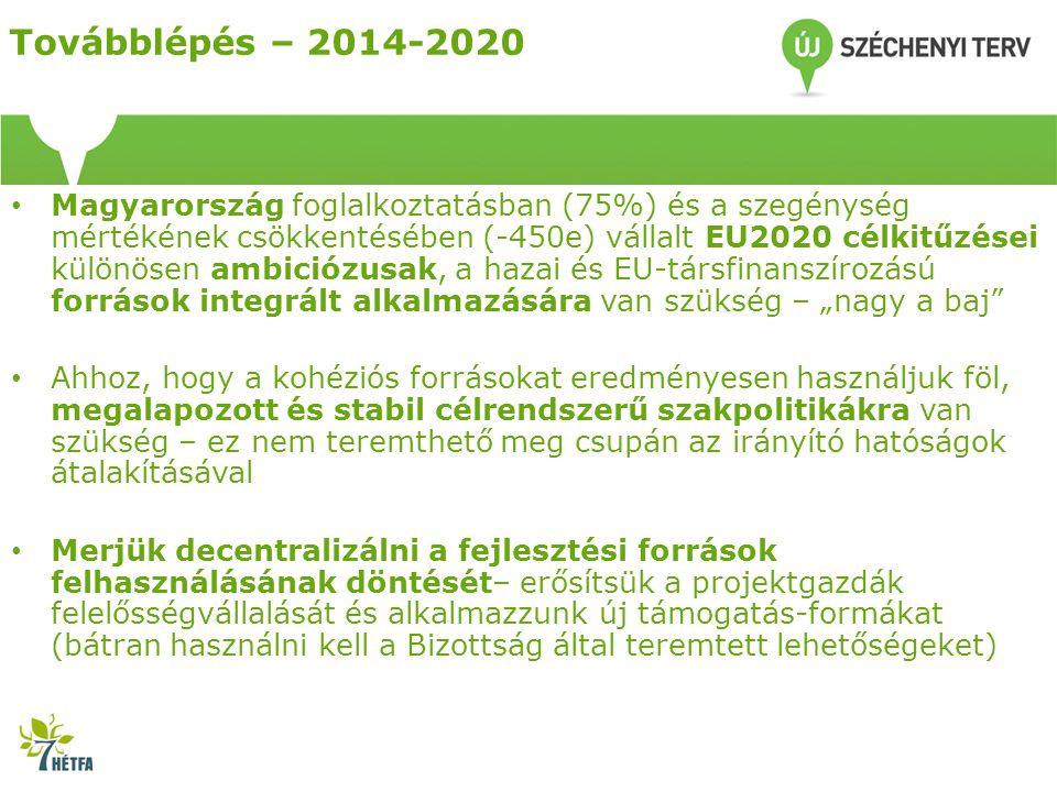 """Továbblépés – 2014-2020 • Magyarország foglalkoztatásban (75%) és a szegénység mértékének csökkentésében (-450e) vállalt EU2020 célkitűzései különösen ambiciózusak, a hazai és EU-társfinanszírozású források integrált alkalmazására van szükség – """"nagy a baj • Ahhoz, hogy a kohéziós forrásokat eredményesen használjuk föl, megalapozott és stabil célrendszerű szakpolitikákra van szükség – ez nem teremthető meg csupán az irányító hatóságok átalakításával • Merjük decentralizálni a fejlesztési források felhasználásának döntését– erősítsük a projektgazdák felelősségvállalását és alkalmazzunk új támogatás-formákat (bátran használni kell a Bizottság által teremtett lehetőségeket)"""
