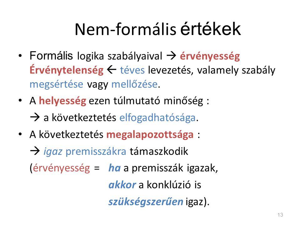 Nem-formális értékek •Formális logika szabályaival  érvényesség Érvénytelenség  téves levezetés, valamely szabály megsértése vagy mellőzése. • A hel