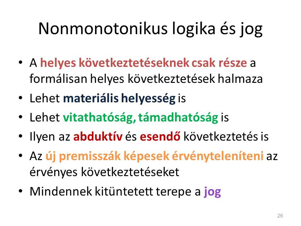 Nonmonotonikus logika és jog • A helyes következtetéseknek csak része a formálisan helyes következtetések halmaza • Lehet materiális helyesség is • Le