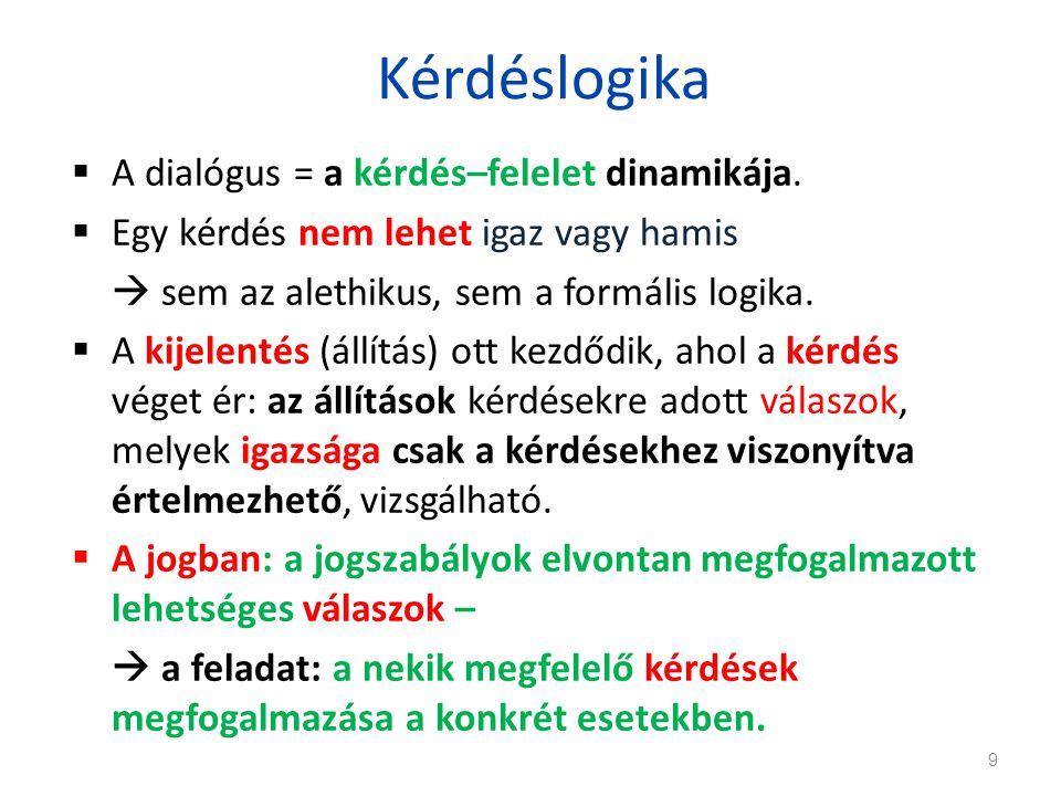 Kérdéslogika  A dialógus = a kérdés–felelet dinamikája.  Egy kérdés nem lehet igaz vagy hamis  sem az alethikus, sem a formális logika.  A kijelen