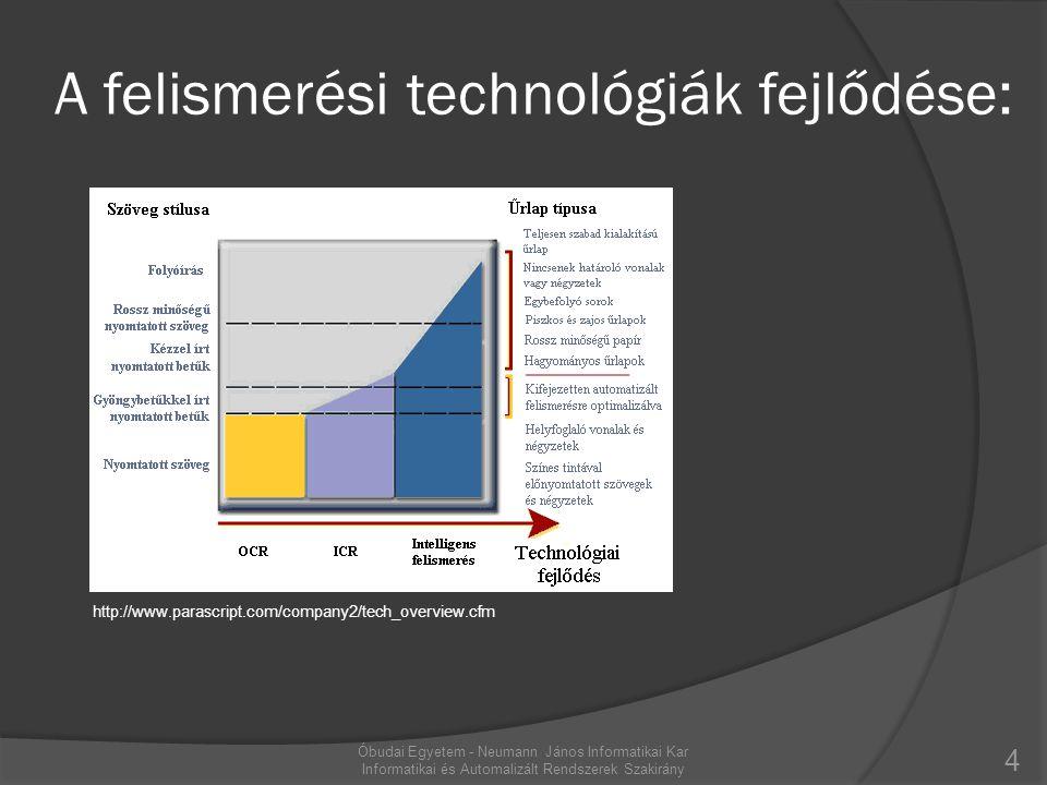 A felismerési technológiák fejlődése: http://www.parascript.com/company2/tech_overview.cfm 4 Óbudai Egyetem - Neumann János Informatikai Kar Informati
