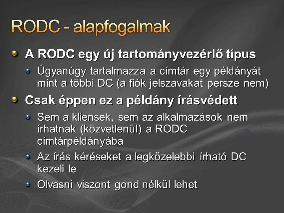 A RODC egy új tartományvezérlő típus Úgyanúgy tartalmazza a címtár egy példányát mint a többi DC (a fiók jelszavakat persze nem) Csak éppen ez a példány írásvédett Sem a kliensek, sem az alkalmazások nem írhatnak (közvetlenül) a RODC címtárpéldányába Az írás kéréseket a legközelebbi írható DC kezeli le Olvasni viszont gond nélkül lehet