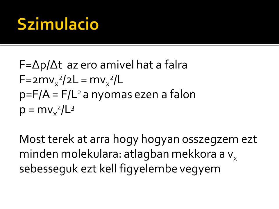 F=Δp/Δt az ero amivel hat a falra F=2mv x 2 /2L = mv x 2 /L p=F/A = F/L 2 a nyomas ezen a falon p = mv x 2 /L 3 Most terek at arra hogy hogyan osszegz