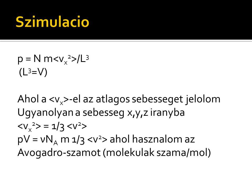 p = N m /L 3 (L 3 =V) Ahol a -el az atlagos sebesseget jelolom Ugyanolyan a sebesseg x,y,z iranyba = 1/3 pV = νN A m 1/3 ahol hasznalom az Avogadro-sz