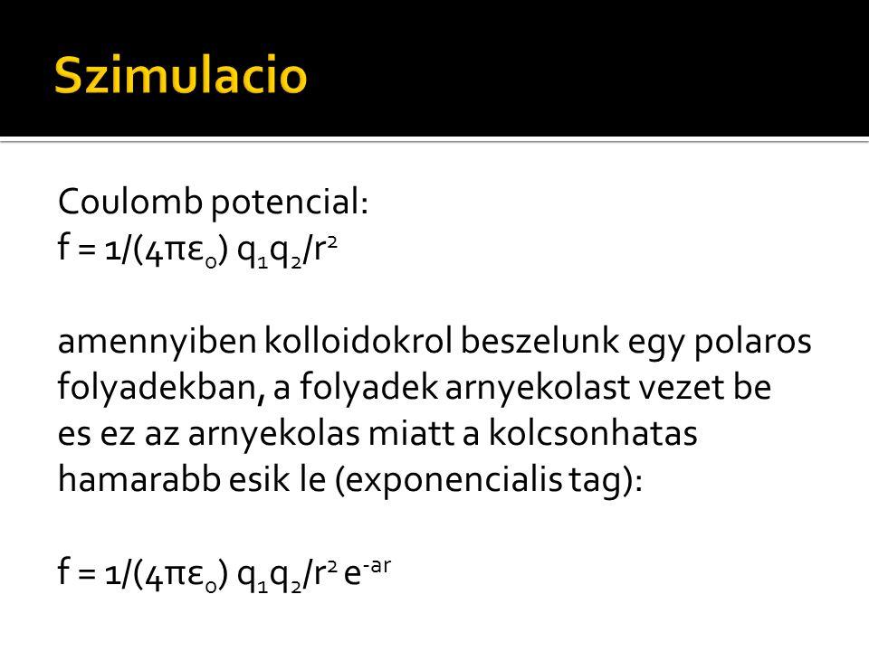 Coulomb potencial: f = 1/(4πε 0 ) q 1 q 2 /r 2 amennyiben kolloidokrol beszelunk egy polaros folyadekban, a folyadek arnyekolast vezet be es ez az arn