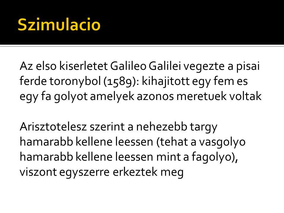 Az elso kiserletet Galileo Galilei vegezte a pisai ferde toronybol (1589): kihajitott egy fem es egy fa golyot amelyek azonos meretuek voltak Arisztot