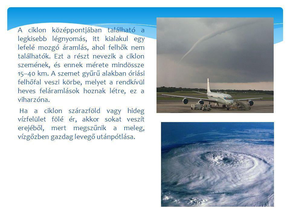 A ciklon középpontjában található a legkisebb légnyomás, itt kialakul egy lefelé mozgó áramlás, ahol felhők nem találhatók.