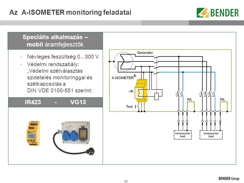 """60 Az A-ISOMETER monitoring feladatai -Névleges feszültség 0...300 V -Védelmi rendszabály: """"Védelmi szétválasztás szidetelés monitoringgal és szétkapc"""