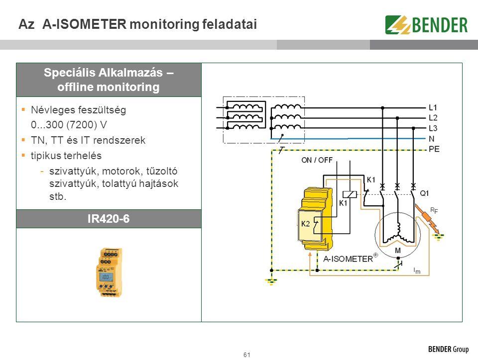 61 Az A-ISOMETER monitoring feladatai Speciális Alkalmazás – offline monitoring IR420-6  Névleges feszültség 0...300 (7200) V  TN, TT és IT rendszer