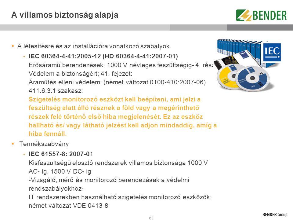 63 A villamos biztonság alapja  A létesítésre és az installációra vonatkozó szabályok -IEC 60364-4-41:2005-12 (HD 60364-4-41:2007-01) Erősáramű beren