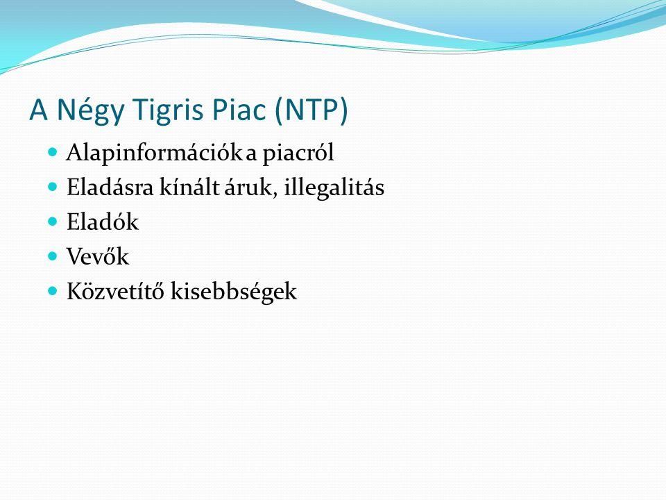 A Négy Tigris Piac (NTP)  Alapinformációk a piacról  Eladásra kínált áruk, illegalitás  Eladók  Vevők  Közvetítő kisebbségek