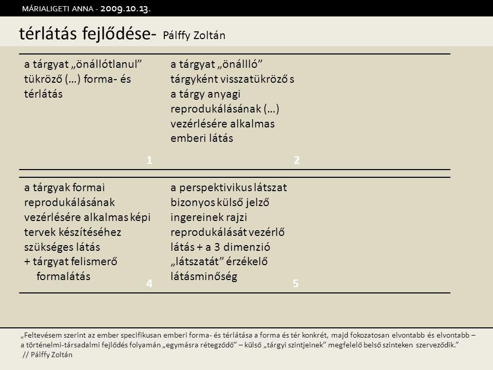 """térlátás fejlődése- Pálffy Zoltán MÁRIALIGETI ANNA - 2009.10.13. 12 45 a tárgyat """"önállótlanul"""" tükröző (…) forma- és térlátás a tárgyat """"önállló"""" tár"""