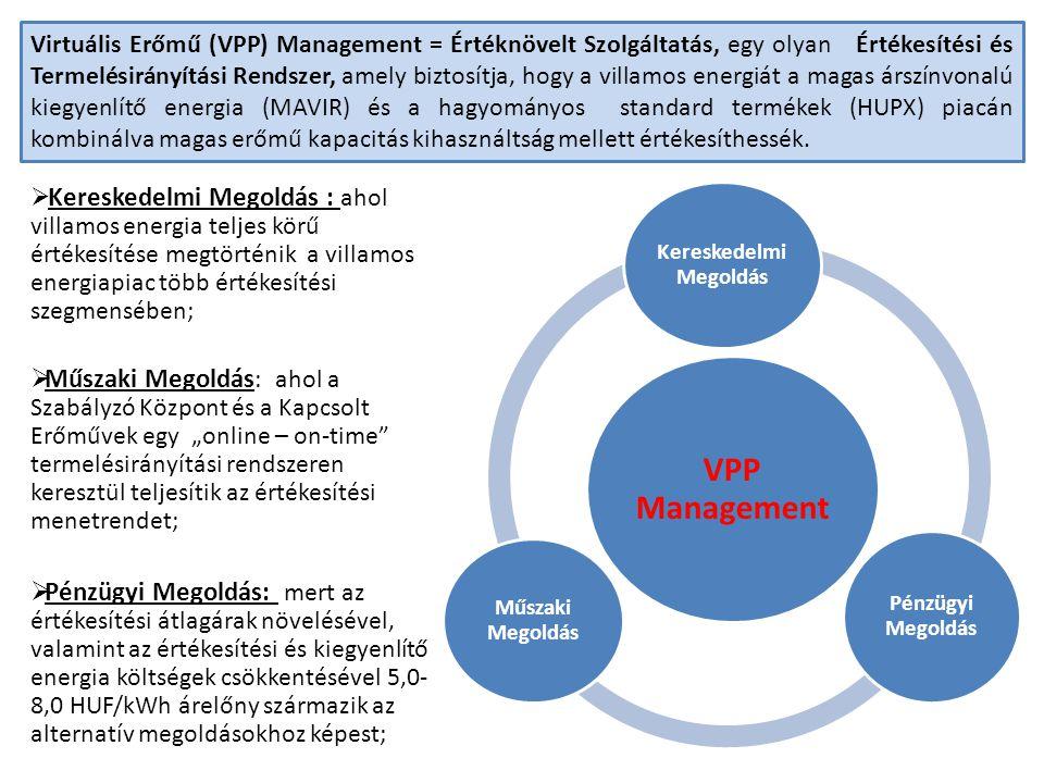 Virtuális Erőmű (VPP) Management = Értéknövelt Szolgáltatás, egy olyan Értékesítési és Termelésirányítási Rendszer, amely biztosítja, hogy a villamos energiát a magas árszínvonalú kiegyenlítő energia (MAVIR) és a hagyományos standard termékek (HUPX) piacán kombinálva magas erőmű kapacitás kihasználtság mellett értékesíthessék.