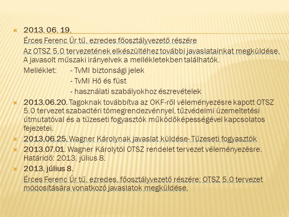  2013. 06. 19. Érces Ferenc Úr tű. ezredes főosztályvezető részére Az OTSZ 5.0 tervezetének elkészültéhez további javaslatainkat megküldése. A javaso