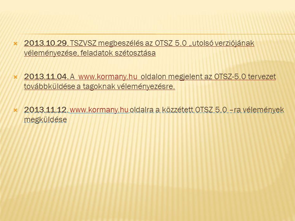 """ 2013.10.29. TSZVSZ megbeszélés az OTSZ 5.0 """"utolsó verziójának véleményezése, feladatok szétosztása  2013.11.04. A www.kormany.hu oldalon megjelent"""
