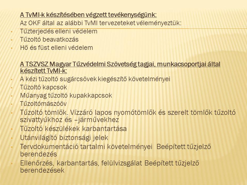 A TvMI-k készítésében végzett tevékenységünk: Az OKF által az alábbi TvMI tervezeteket véleményeztük: • Tűzterjedés elleni védelem • Tűzoltó beavatkoz