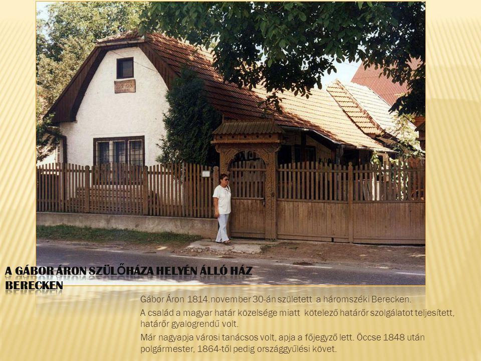 Gábor Áron 1814.november 30-án született a háromszéki Berecken. A család a magyar határ közelsége miatt kötelező határőr szolgálatot teljesített, hatá