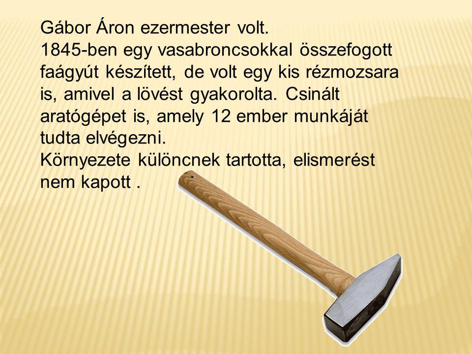 Gábor Áron ezermester volt. 1845-ben egy vasabroncsokkal összefogott faágyút készített, de volt egy kis rézmozsara is, amivel a lövést gyakorolta. Csi