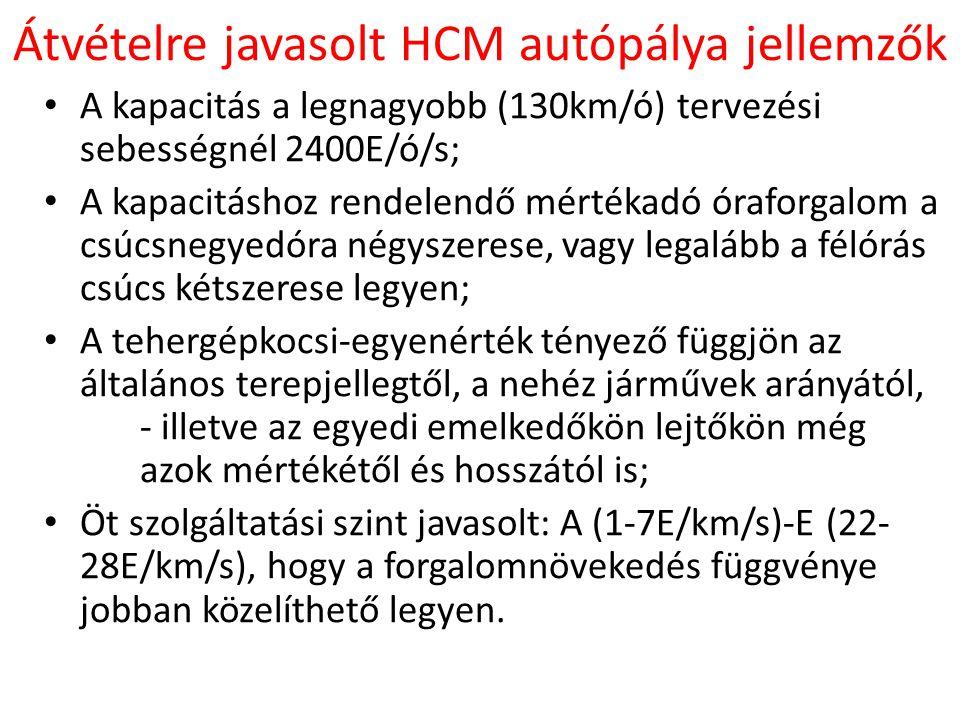 Átvételre javasolt HCM autópálya jellemzők • A kapacitás a legnagyobb (130km/ó) tervezési sebességnél 2400E/ó/s; • A kapacitáshoz rendelendő mértékadó