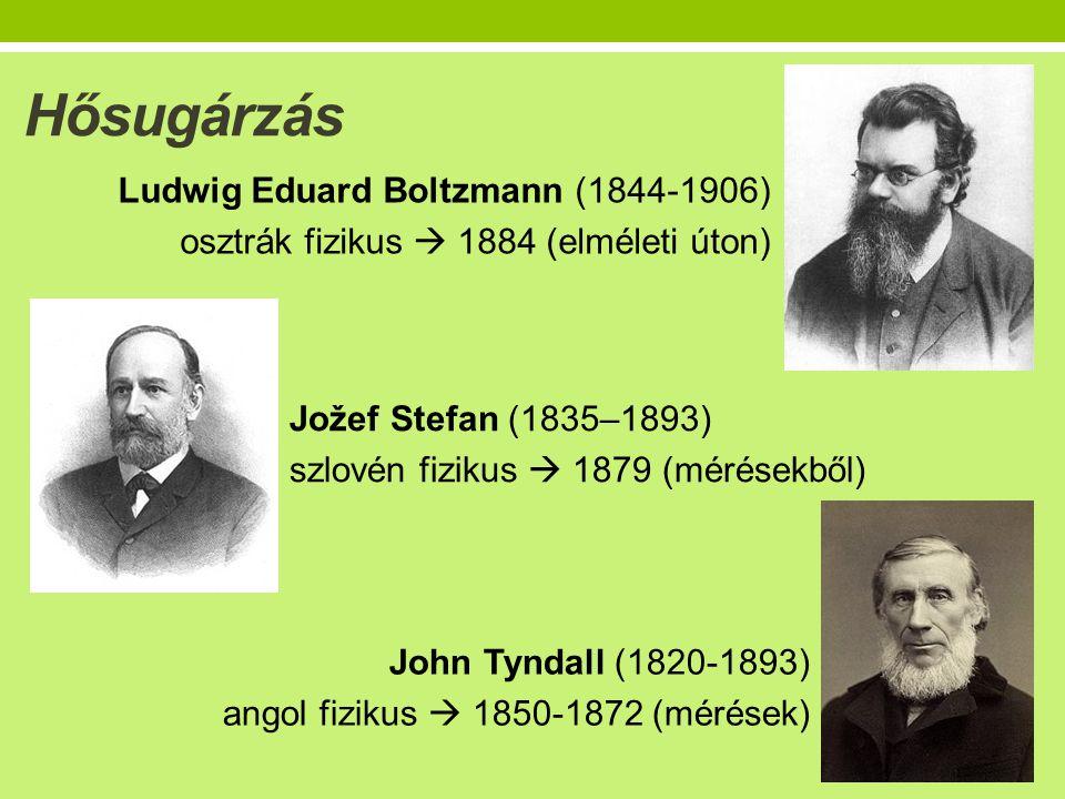 Hősugárzás Ludwig Eduard Boltzmann (1844-1906) osztrák fizikus  1884 (elméleti úton) Jožef Stefan (1835–1893) szlovén fizikus  1879 (mérésekből) John Tyndall (1820-1893) angol fizikus  1850-1872 (mérések)