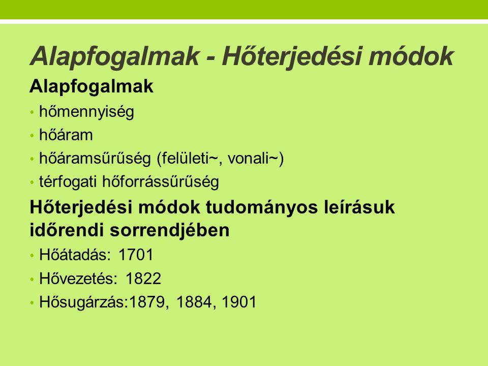 Alapfogalmak - Hőterjedési módok Alapfogalmak • hőmennyiség • hőáram • hőáramsűrűség (felületi~, vonali~) • térfogati hőforrássűrűség Hőterjedési módok tudományos leírásuk időrendi sorrendjében • Hőátadás: 1701 • Hővezetés: 1822 • Hősugárzás:1879, 1884, 1901