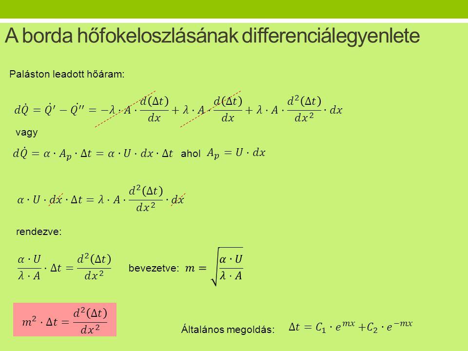 A borda hőfokeloszlásának differenciálegyenlete Paláston leadott hőáram: vagy rendezve: ahol bevezetve: Általános megoldás: