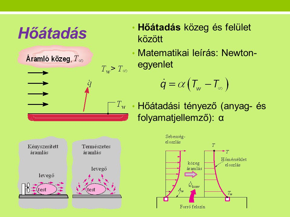 Hőátadás • Hőátadás közeg és felület között • Matematikai leírás: Newton- egyenlet • Hőátadási tényező (anyag- és folyamatjellemző): α