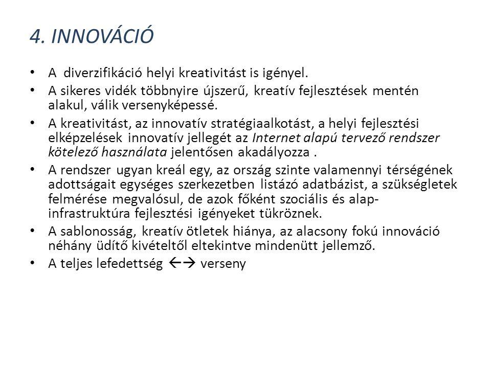 4. INNOVÁCIÓ • A diverzifikáció helyi kreativitást is igényel. • A sikeres vidék többnyire újszerű, kreatív fejlesztések mentén alakul, válik versenyk