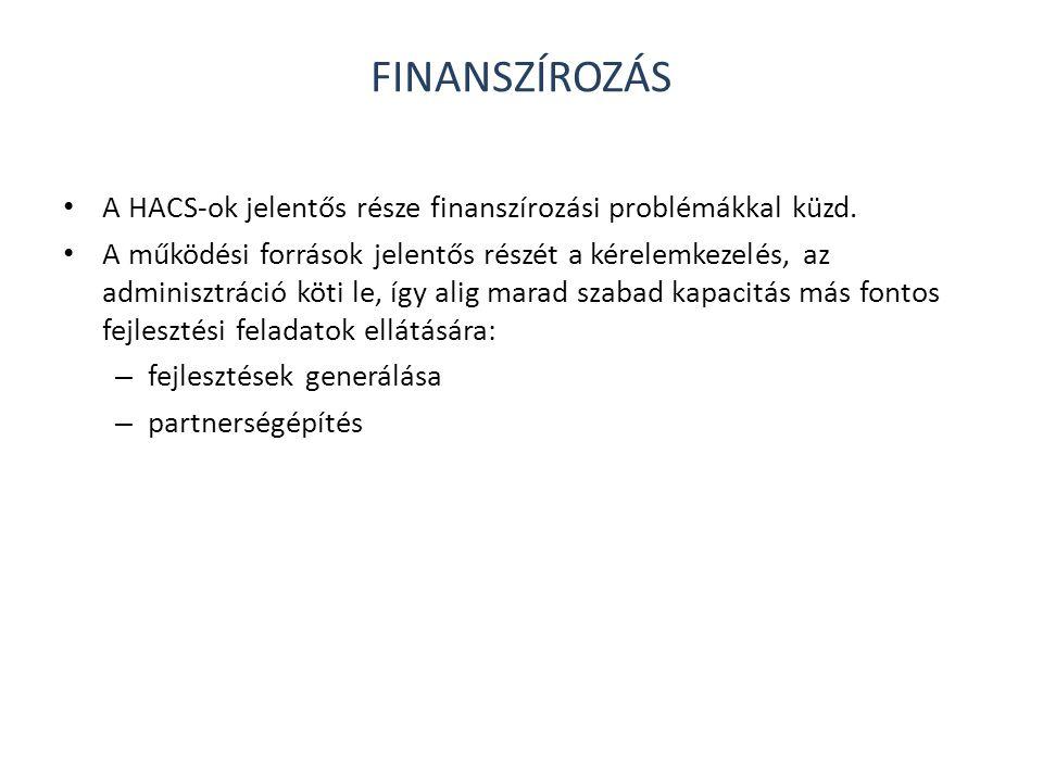 FINANSZÍROZÁS • A HACS-ok jelentős része finanszírozási problémákkal küzd. • A működési források jelentős részét a kérelemkezelés, az adminisztráció k