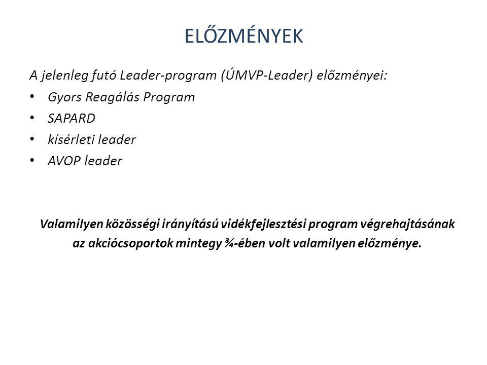 ELŐZMÉNYEK A jelenleg futó Leader-program (ÚMVP-Leader) előzményei: • Gyors Reagálás Program • SAPARD • kísérleti leader • AVOP leader Valamilyen közö