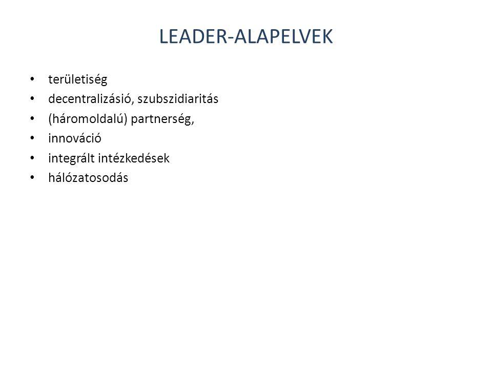 LEADER-ALAPELVEK • területiség • decentralizásió, szubszidiaritás • (háromoldalú) partnerség, • innováció • integrált intézkedések • hálózatosodás