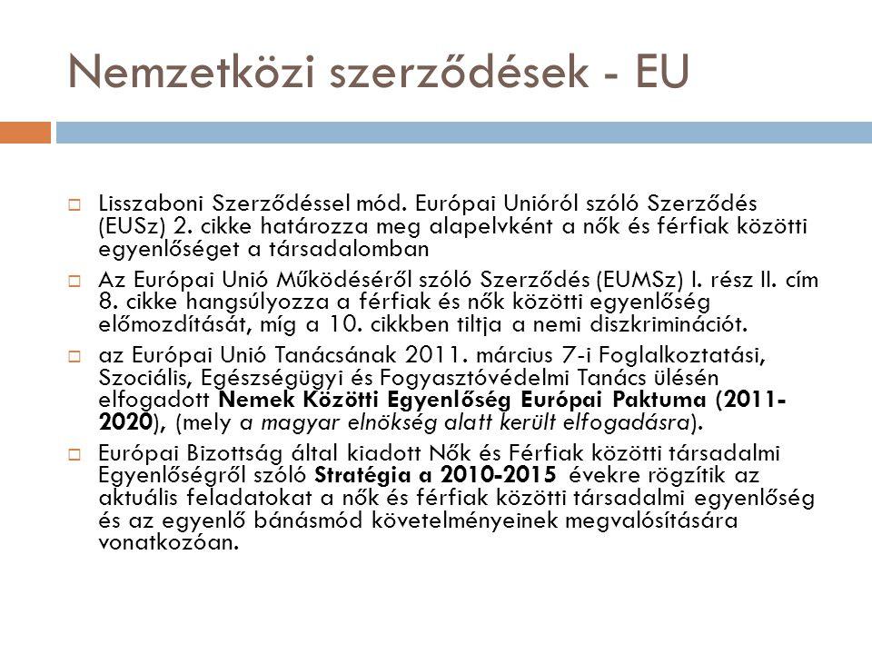 Nemzetközi szerződések - EU  Lisszaboni Szerződéssel mód. Európai Unióról szóló Szerződés (EUSz) 2. cikke határozza meg alapelvként a nők és férfiak