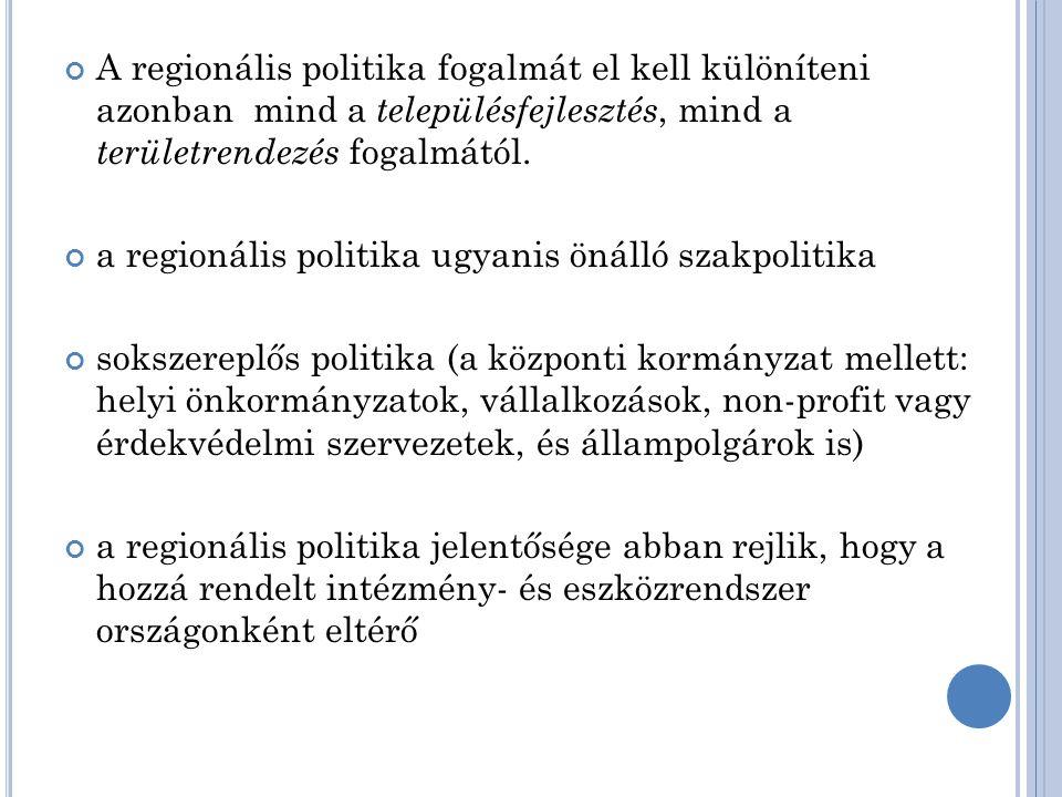 A regionális politika fogalmát el kell különíteni azonban mind a településfejlesztés, mind a területrendezés fogalmától.