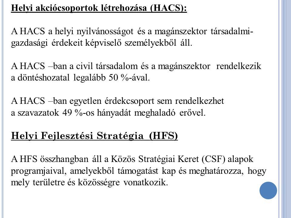 Helyi akciócsoportok létrehozása (HACS): A HACS a helyi nyilvánosságot és a magánszektor társadalmi- gazdasági érdekeit képviselő személyekből áll.
