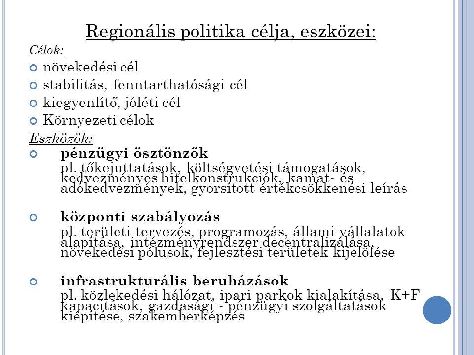 Az európai regionális politika rövid története 1957, Római Szerződés: a közösségi szintű regionális politika kialakítását még nem tartalmazta a 60-as évek vége: elindul a tagállamok regionális politi-káinak összehangolása 1972, az Európa Tanács párizsi csúcsértekezlete: a tag-államok döntenek a közös regionális politika létrehozásá- ról az újabb bővítések (1973, 1981, 1986 stb.) tovább növelik a közös regionális politika kialakításának szükségességét