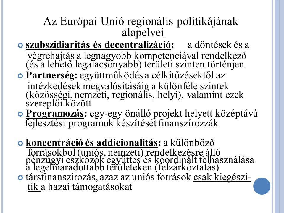 Az Európai Unió regionális politikájának alapelvei szubszidiaritás és decentralizáció:a döntések és a végrehajtás a legnagyobb kompetenciával rendelkező (és a lehető legalacsonyabb) területi szinten történjen Partnerség: együttműködés a célkitűzésektől az intézkedések megvalósításáig a különféle szintek (közösségi, nemzeti, regionális, helyi), valamint ezek szereplői között Programozás: egy-egy önálló projekt helyett középtávú fejlesztési programok készítését finanszírozzák koncentráció és addícionalitás: a különböző forrásokból (uniós, nemzeti) rendelkezésre álló pénzügyi eszközök együttes és koordinált felhasználása a legelmaradottabb területeken (felzárkóztatás) társfinanszírozás, azaz az uniós források csak kiegészí- tik a hazai támogatásokat