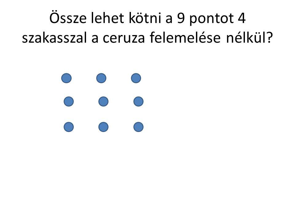 Össze lehet kötni a 9 pontot 4 szakasszal a ceruza felemelése nélkül?