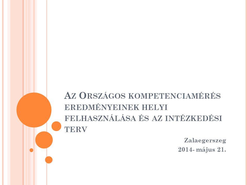 A Z O RSZÁGOS KOMPETENCIAMÉRÉS EREDMÉNYEINEK HELYI FELHASZNÁLÁSA ÉS AZ INTÉZKEDÉSI TERV Zalaegerszeg 2014- május 21.