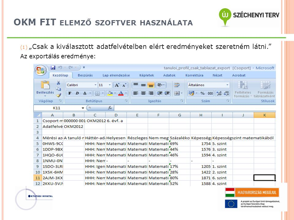 """OKM FIT ELEMZŐ SZOFTVER HASZNÁLATA (1) """"Csak a kiválasztott adatfelvételben elért eredményeket szeretném látni."""" Az exportálás eredménye:"""
