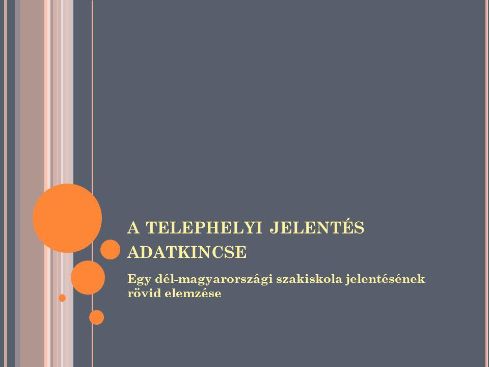 A TELEPHELYI JELENTÉS ADATKINCSE Egy dél-magyarországi szakiskola jelentésének rövid elemzése
