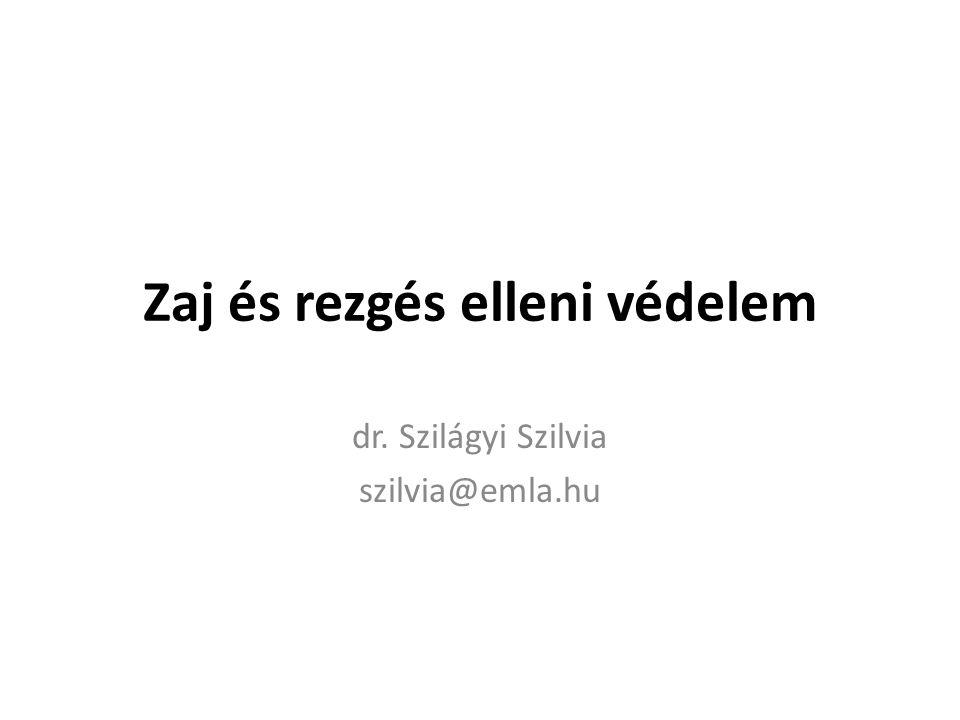 Zaj és rezgés elleni védelem dr. Szilágyi Szilvia szilvia@emla.hu