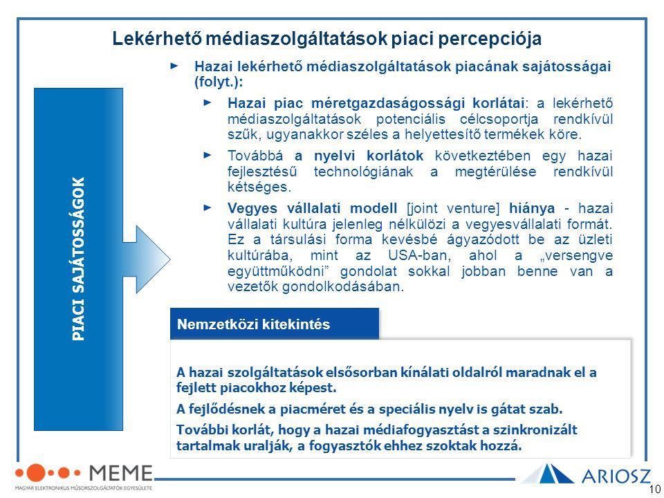 10 Lekérhető médiaszolgáltatások piaci percepciója Hazai lekérhető médiaszolgáltatások piacának sajátosságai (folyt.): Hazai piac méretgazdaságossági