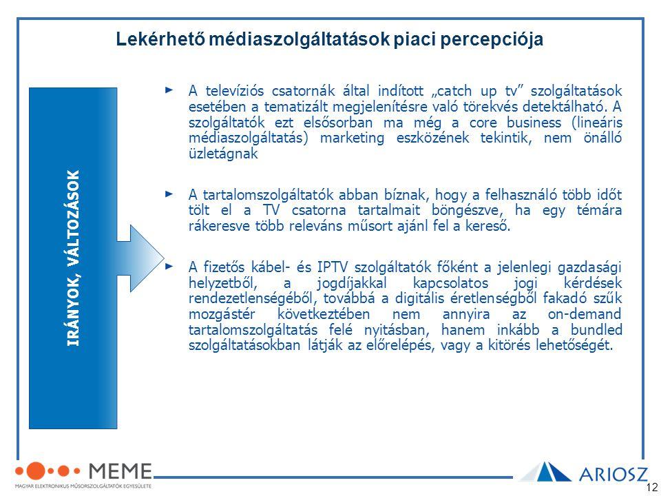 """12 Lekérhető médiaszolgáltatások piaci percepciója A televíziós csatornák által indított """"catch up tv"""" szolgáltatások esetében a tematizált megjelenít"""